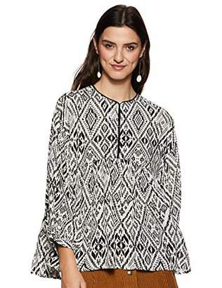 Off-White Serene Bohemian Women's Flowy Black Printed Blouse Top with Piping Neck (