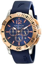 Nautica Men's NAD19506G BFD 101 Dive Style Chrono Analog Display Japanese Quartz Blue Watch