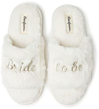 Dearfoams Women's Bridal Faux Fur Slide Slippers