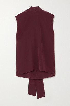 Joseph Bina Tie-detailed Silk Crepe De Chine Top - Burgundy