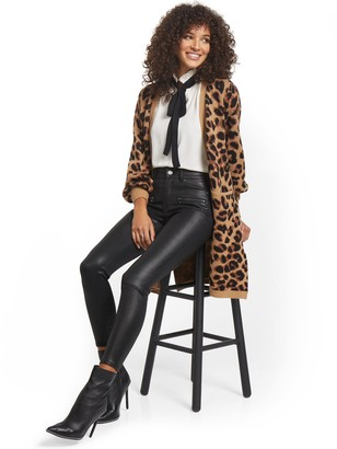 New York & Co. Mya Curvy High-Waisted Sculpting No Gap Super-Skinny Jeans - Coated Faux-Leather