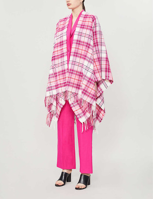 Pinko Check pattern wool poncho