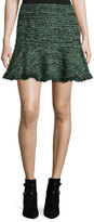 Rebecca Taylor Textured Tweed Ruffle Mini Skirt, Green