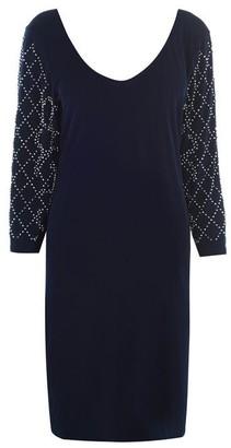 Marina Long sleeve V neck shift dress
