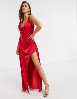 Yaura plunge neck high low midaxi dress in fiery red
