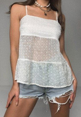 Missguided White Textured Chiffon Cami Top