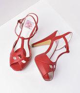 Unique Vintage Red Faux Leather Bettie T-Strap Peep Toe Pump Shoes