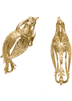 Josie Natori Gold Brass Small Bird Earrings