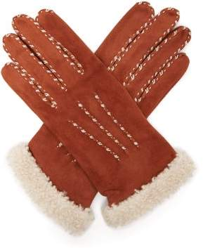 Agnelle Suede And Wool Trimmed Gloves - Womens - Camel
