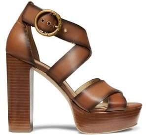 MICHAEL Michael Kors Leia Leather Platform Heeled Sandals