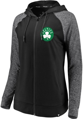 Möve Women's Fanatics Branded Black/Heathered Black Boston Celtics Made to Static Raglan Performance Full-Zip Hoodie