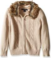 Nautica Big Girls Sweater with Removable Faux Fur Collar