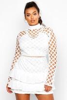 boohoo Plus Premium High Neck Statement Ruffle Dress