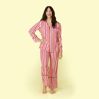 Summersalt The Cloud 9 Silky PJ Set - Classic Stripe in Lava and Hibiscus