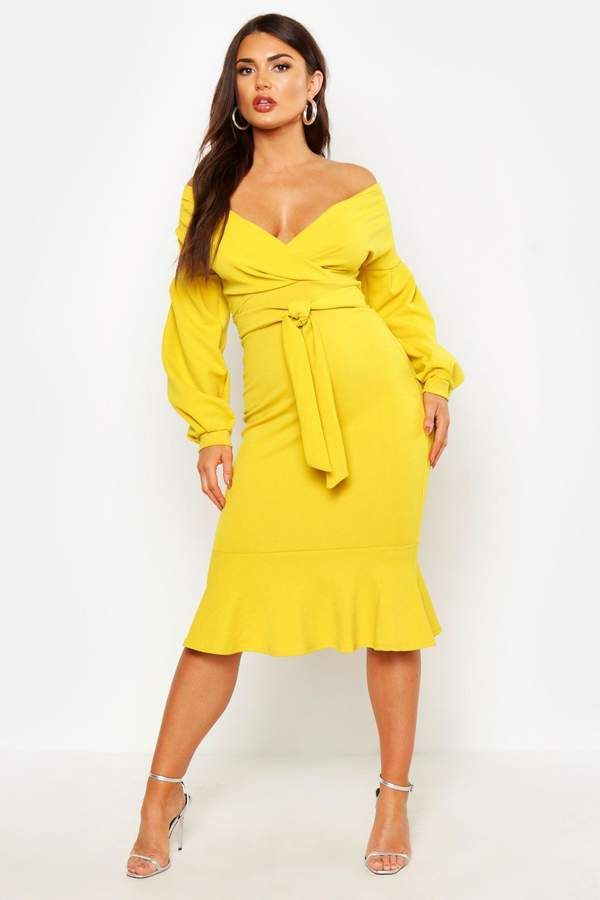 98f29b80eb4d0 boohoo Yellow Off The Shoulder Day Dresses - ShopStyle UK