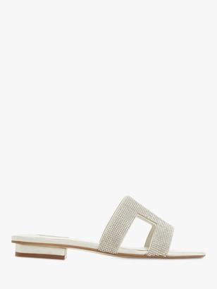 Dune Bridal Collection Novia Diamante Slide Sandals, Ivory Satin