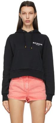 Balmain Black Flocked Logo Cropped Hoodie