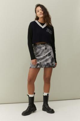 BDG Cal Mono Tie-Dye Corduroy Mini Skirt - Black XS at Urban Outfitters