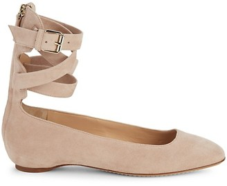 Valentino Suede Ankle-Wrap Flats