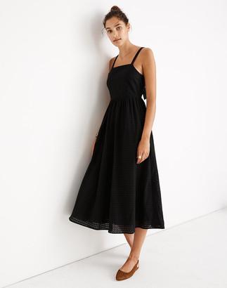 Madewell Petite Eyelet Bow-Back Midi Dress