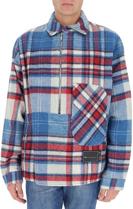 we11done Front-Zip Checked Overshirt