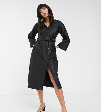 Glamorous belted midi dress in soft faux leather-Black