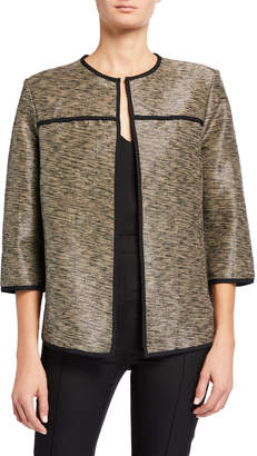 Ming Wang Metallic Trimmed 3/4-Sleeve Jacket