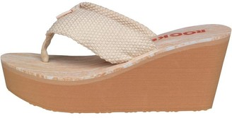 Rocket Dog Womens Diver Webbing Wedge Sandals Double Cream