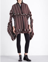 Burberry Fringed wool and silk-blend poncho