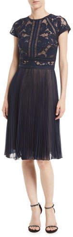 Tadashi Shoji Cap-Sleeve Lace Cocktail Dress w/ Pleated Chiffon