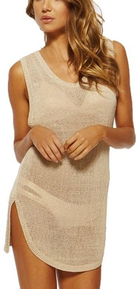 Lishengping Bikini Cover-up Top Crochet Tunic Beachwear Beach Club Perspective Cover Shirt Beige