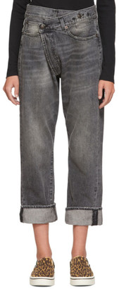 R 13 Black Cross-Over Jeans