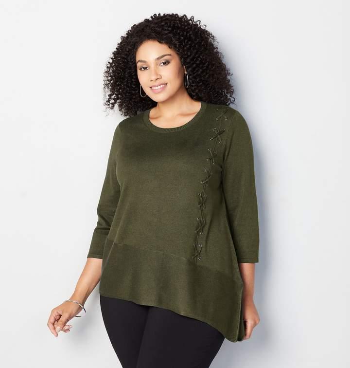 Avenue Plus Size Side Grommet Lace Up Sweater