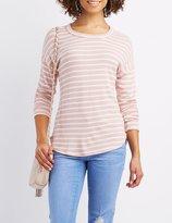 Charlotte Russe Striped Drop Shoulder Top