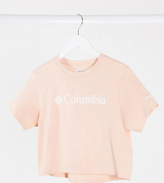 Columbia CSC Basic Logo crop t-shirt in peach Exclusive at ASOS