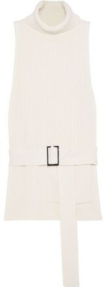 Tibi Belted Ribbed Merino Wool Turtleneck Vest