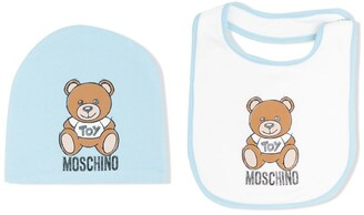 MOSCHINO BAMBINO Teddy Bear Beanie And Bib Set