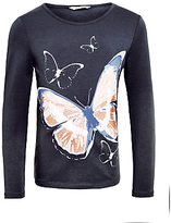 John Lewis Girls' Butterfly Long Sleeve Top, Charcoal