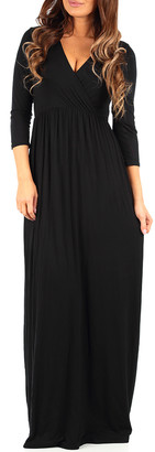 California Trading Group Women's Maxi Dresses Black - Black Long-Sleeve Surplice Maxi Dress - Women