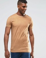 Asos Longline Muscle T-Shirt With Oil Wash In Camel