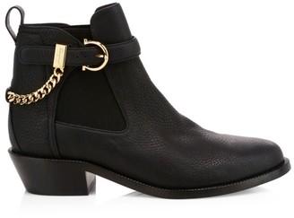 Salvatore Ferragamo Ardisievit Chain Leather Chelsea Boots