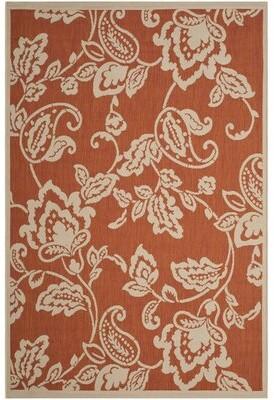 "Martha Stewart Berrima Floral Terracotta/Beige Area Rug Rug Size: Rectangle 2'7"" x 5'"