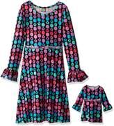 Dollie & Me Little Girls' Brushed Sweater Knit Polka Dot Floral Printed Dress