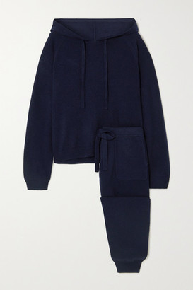 Allude Wool And Cashmere-blend Hoodie And Track Pants Set - Navy