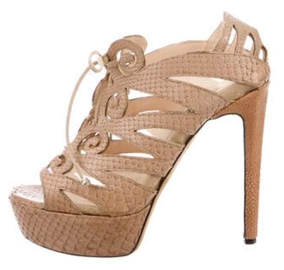 Chrissie Morris Python Platform Sandals Beige Python Platform Sandals