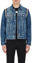 Givenchy Men's Knit-Inset Distressed Denim Jacket