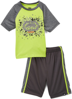 Ecko Unlimited Lime & Gray Houndstooth Logo Tee & Shorts - Toddler & Boys