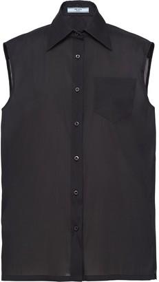 Prada Spread Collar Sleeveless Shirt