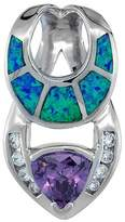 Sabrina Silver Sterling Silver Amethyst CZ Pendant Synthetic Opal Inlay 7 mm Center 1 inch tall