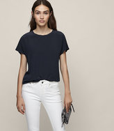 Reiss Tia Silk Front T-Shirt